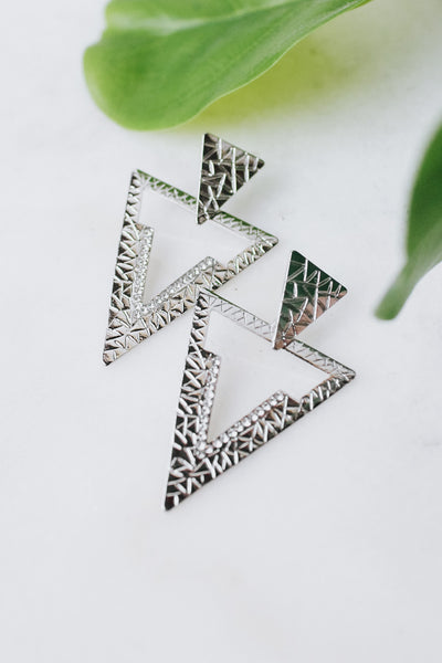 Stamped & Rhinestone V Triangle Earring