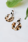 Brush Point Marble Circle Earring