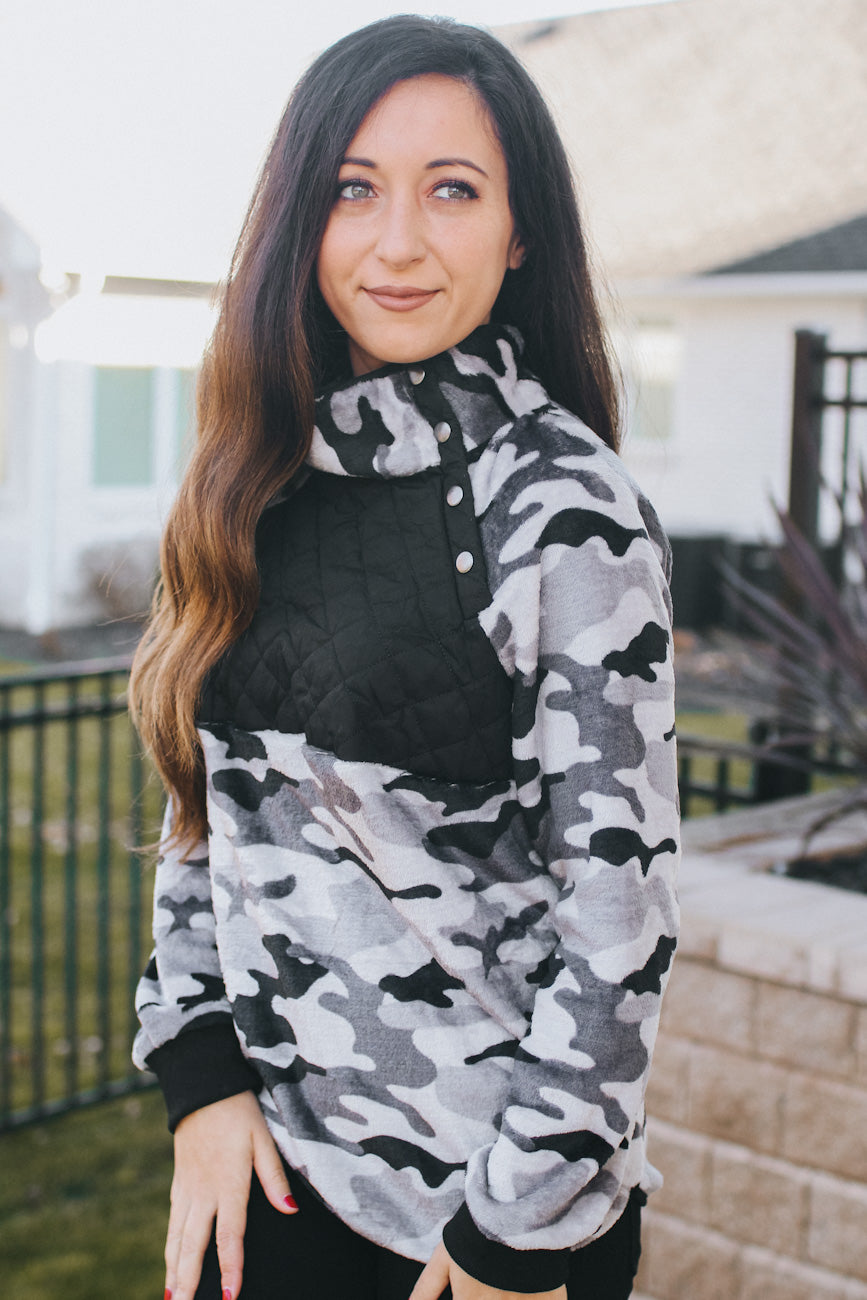 Camo Pullover with Quilted Chest