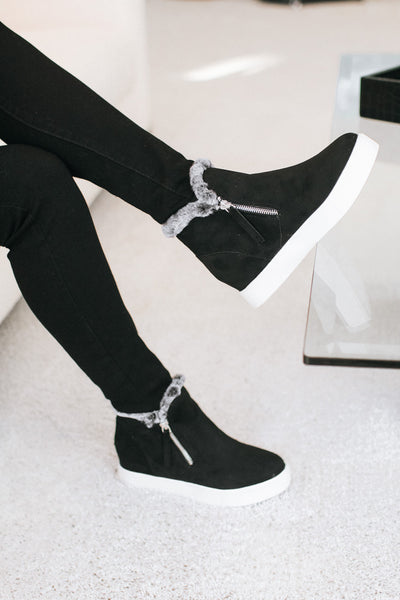 Fur Inside Zip Side Suede Sneaker