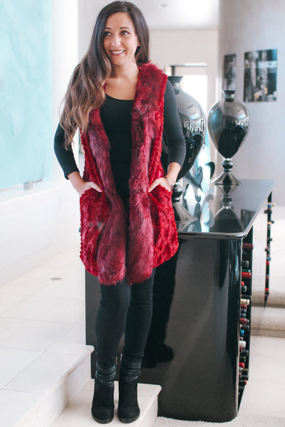 Layered Fur Trim Vest with Pockets