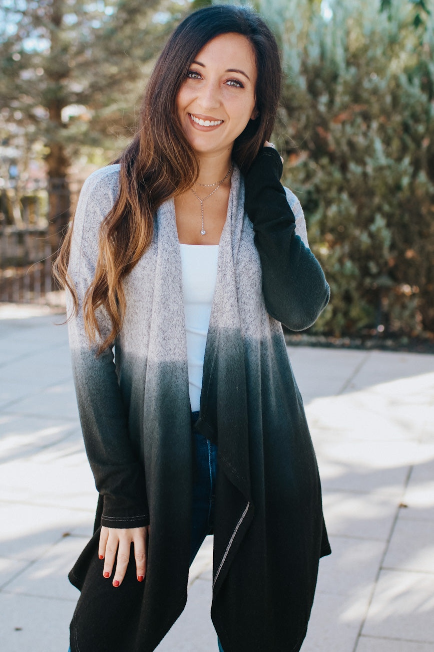 Marled Top Colored Bottom Draped Cardigan