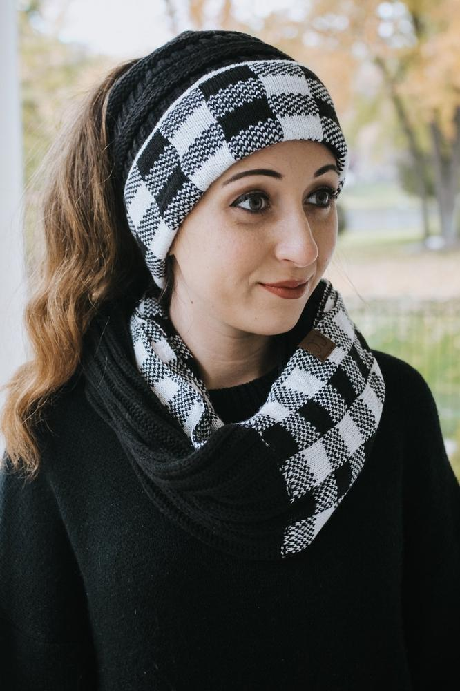 Checker Print Knit Beanie