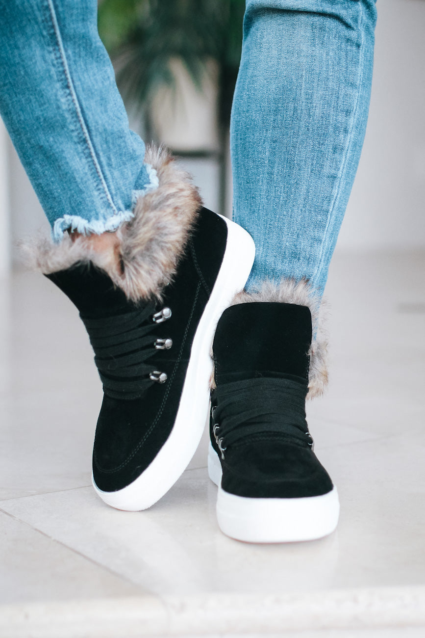Fur Inside Suede Lace Up Sneaker (Sale)