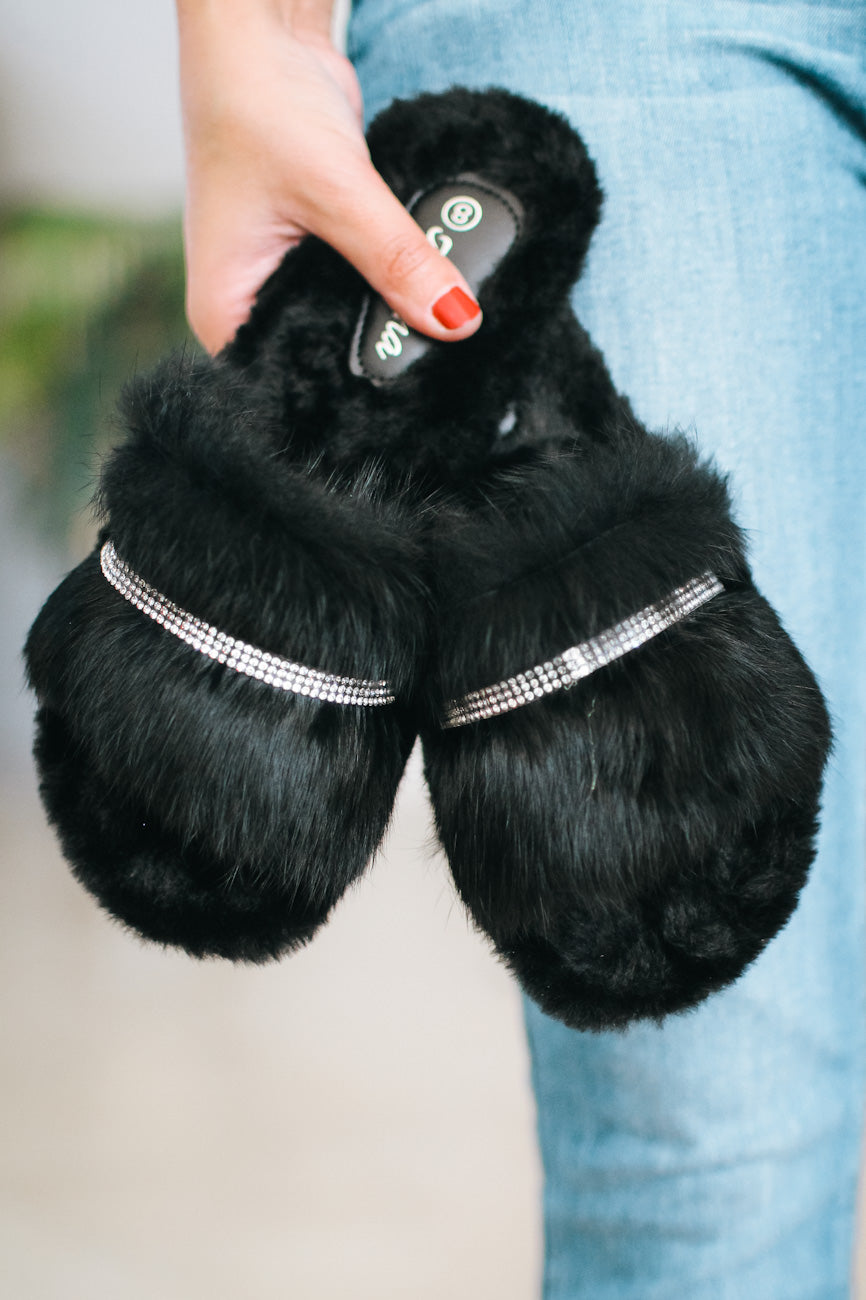 Rhinestone Strip & Fur Slide Slipper