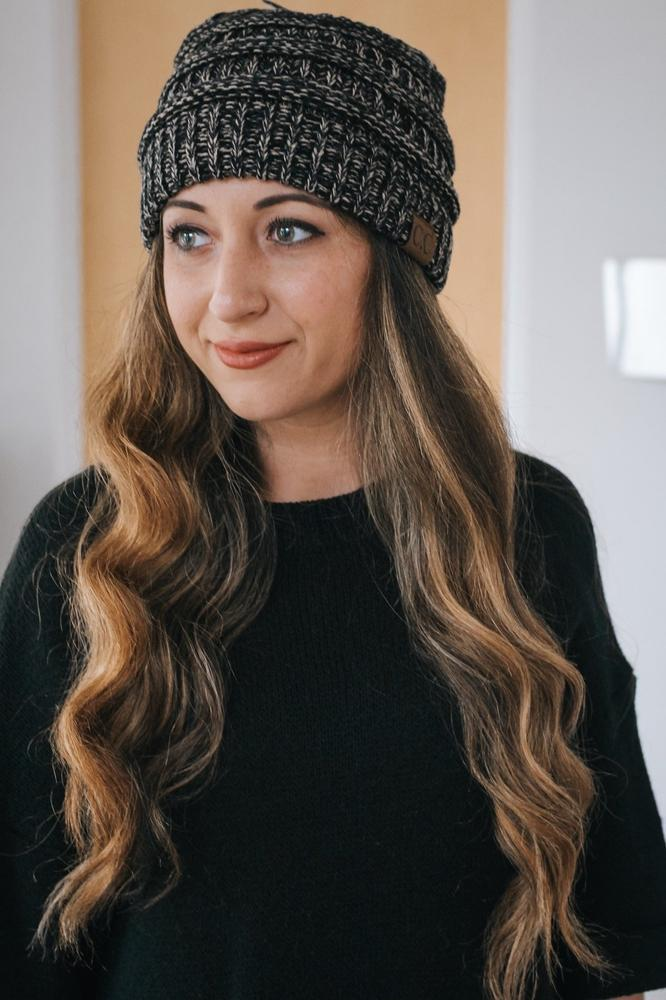 Two Tone Stitch CC Beanie-Glitz & Ears Boutique