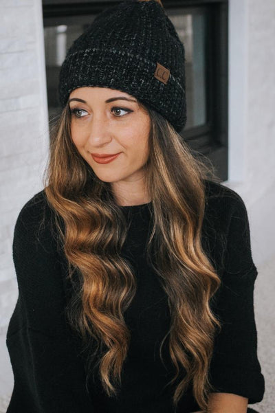 Fuzzy Braided Knit Hat-Glitz & Ears Boutique