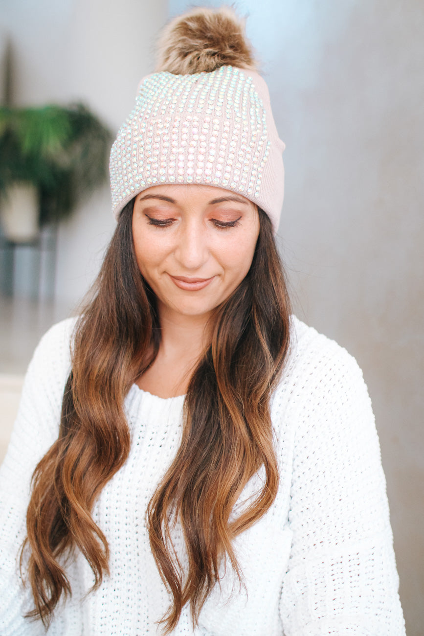 All Circle Stone Front Fur Pompom Beanie