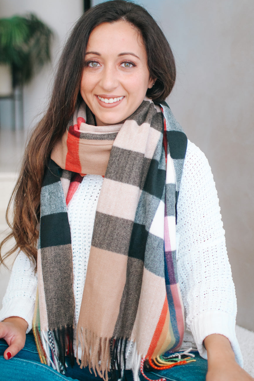 Rainbow Plaid Tassel End Scarf