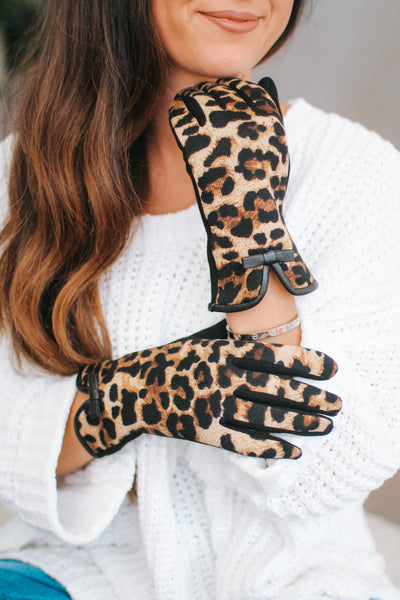 Leather Bow Wrist All Leopard Gloves