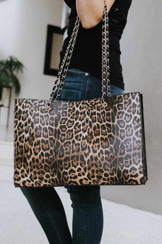 Leopard & Long Chain Straps Purse