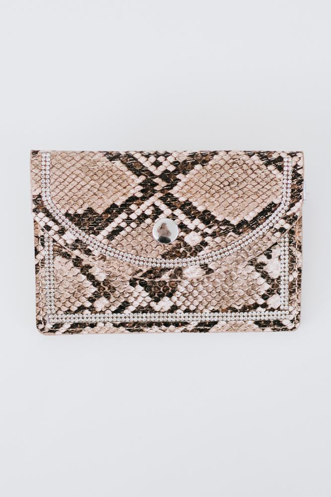 Metallic Snake Print Coin Purse