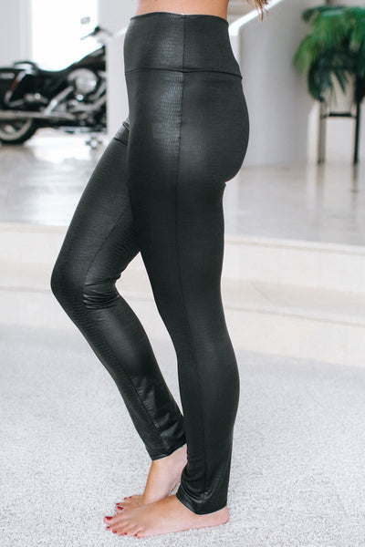 High Waisted Alligator Faux Leather Legging