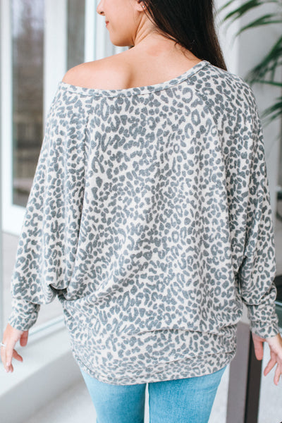 Leopard Fleece Dolman Top