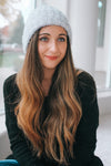 Metallic Knit Rolled Beanie-Glitz & Ears Boutique
