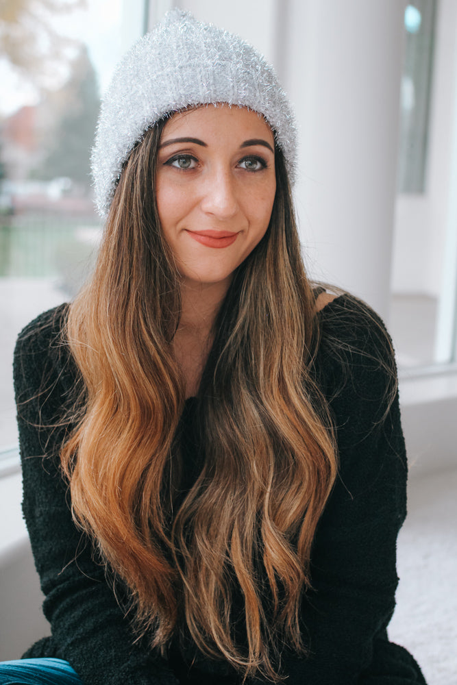 Metallic Knit Rolled Beanie