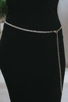 Spaced Two Row Rhinestone Chain Belt