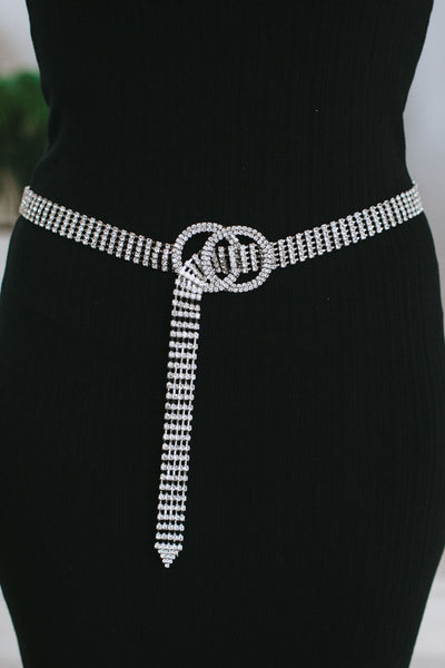 Rhinestone Belt with Circle Clasp