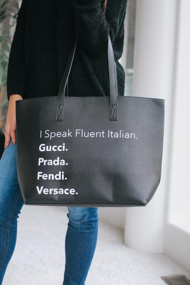 I Speak Fluent Italian Tote