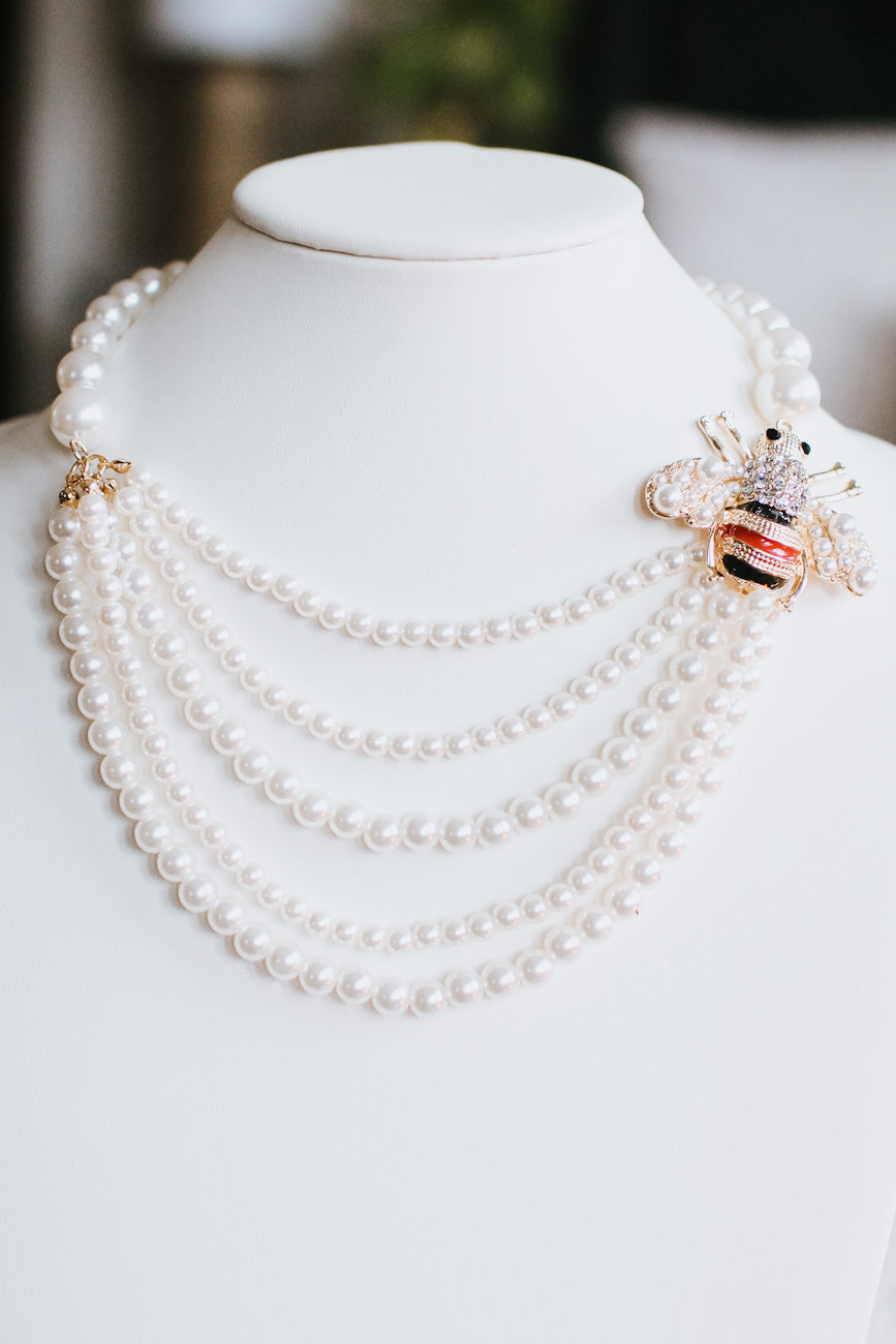 Layered Pearl & Bee Side Necklace