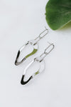 Two Link Top Wavy Metal Oval Earring