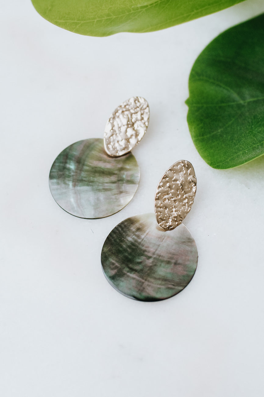 Textured Oval Shell Disc Earring