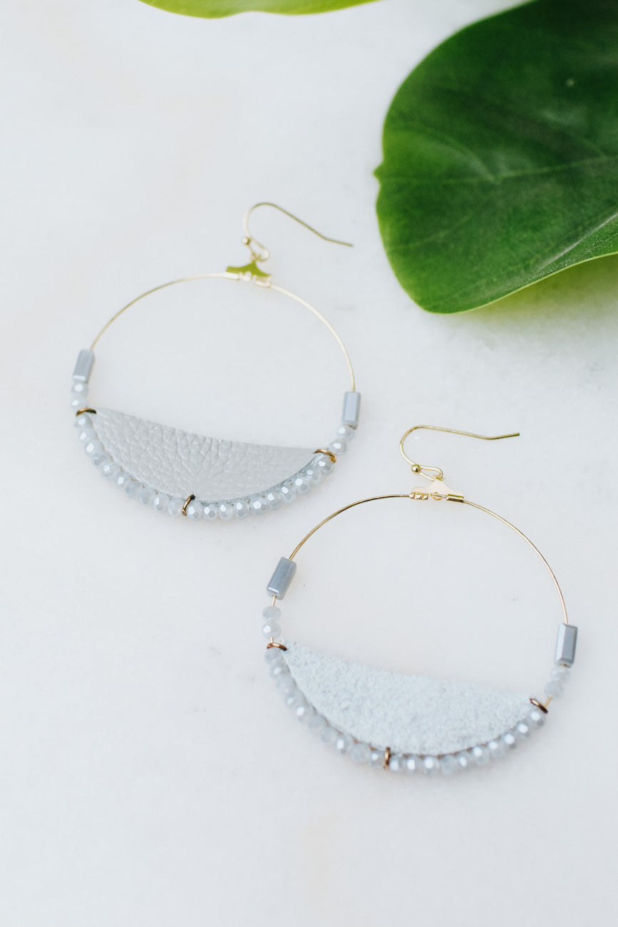 Wire Circle Leather & Bead Bottom Earring