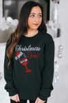 Christmas Spirit with Wine Glass Crew Neck (Sale)