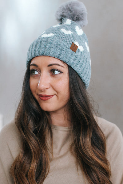 Scattered Heart Knit Hat with Pom-Pom