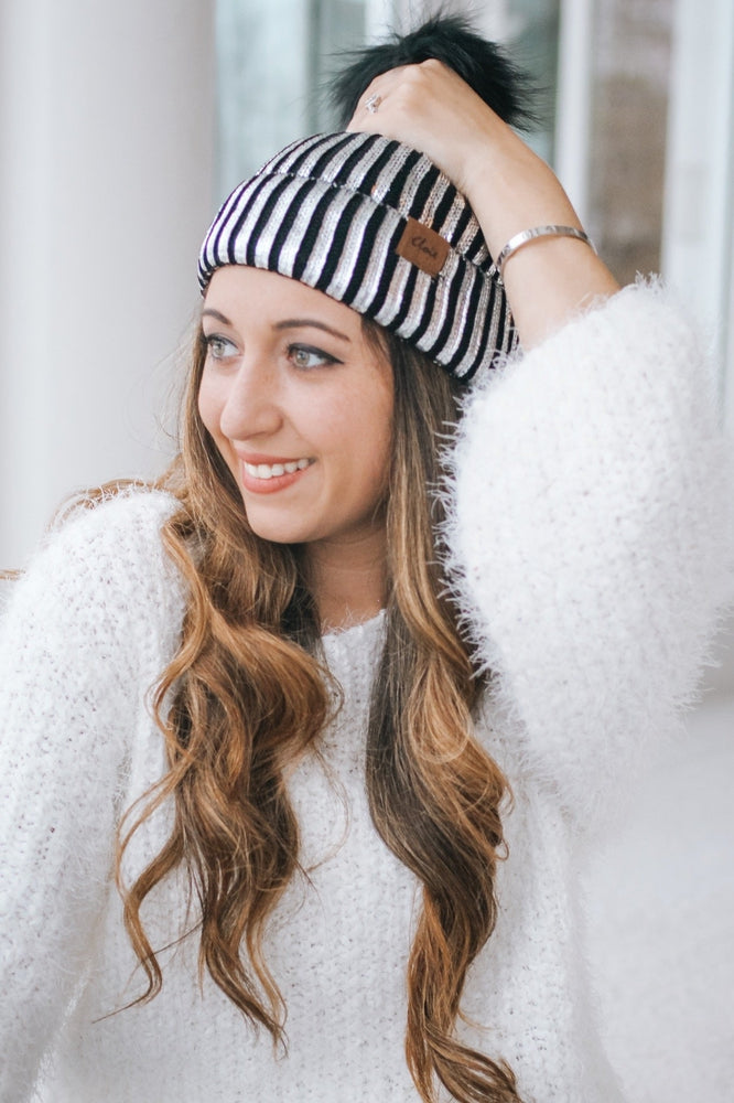 Metallic Paint Pom Top Beanie-Glitz & Ears Boutique