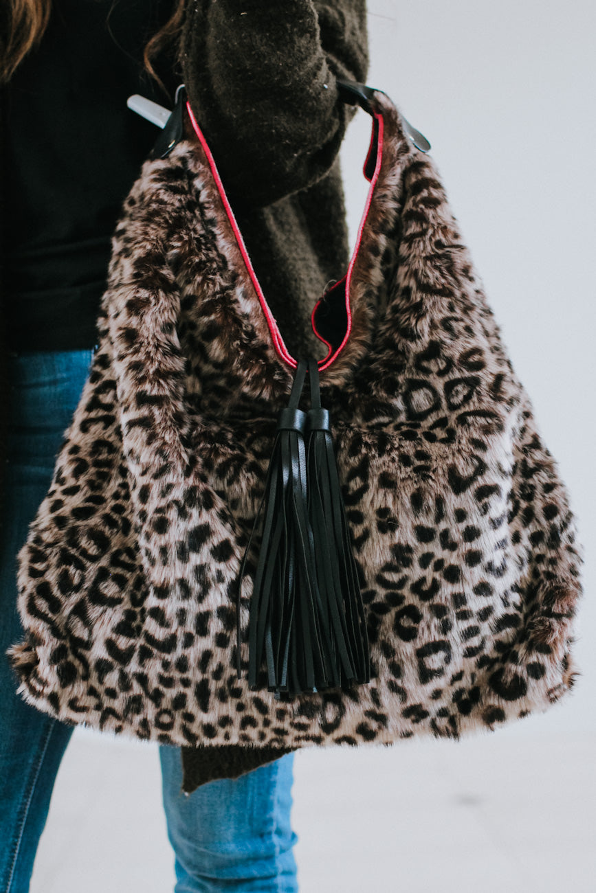 All Leopard Fur & Tassel Hobo Purse