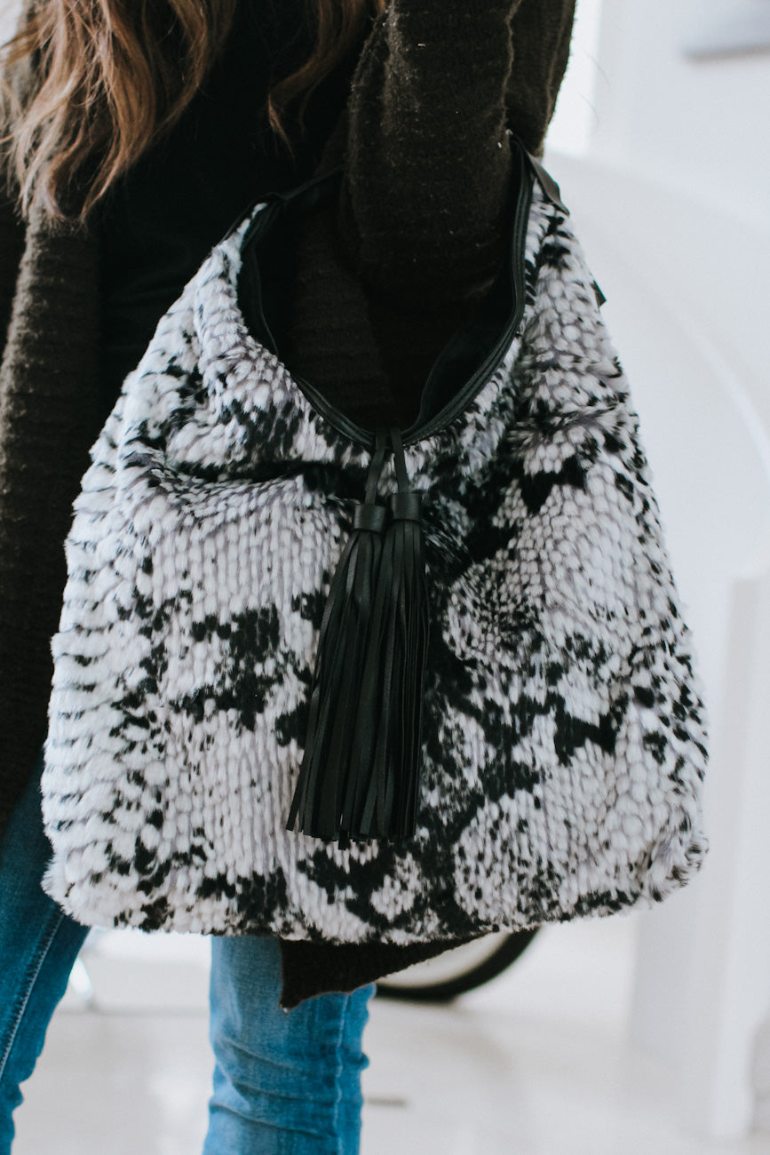 All Snake Fur & Tassel Hobo Purse
