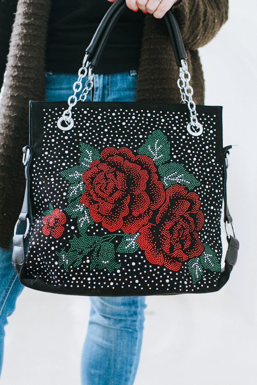 Rose & Scattered Stones Purse
