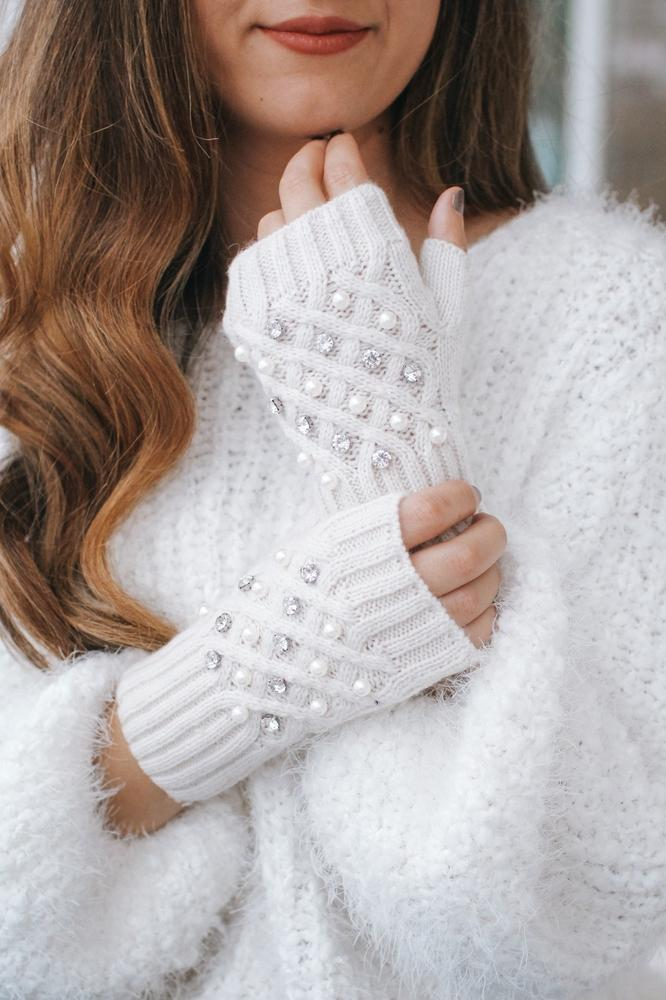 Pearl & Rhinestone Fingerless Glove-Glitz & Ears Boutique
