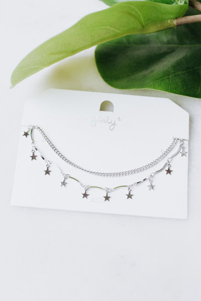 Metal Scoop & Star 2 Chain Anklet