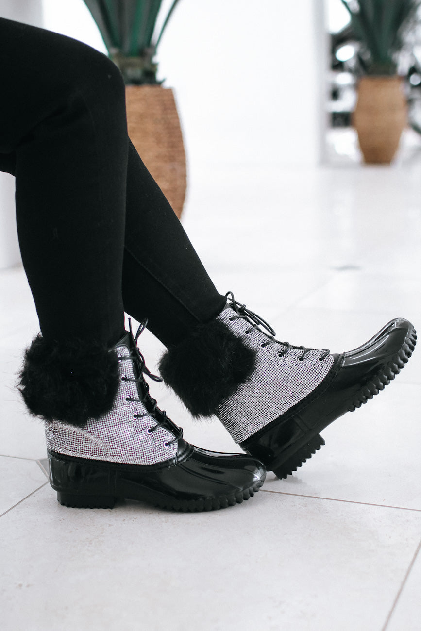 Fur Ankle Rhinestone Duck Boot