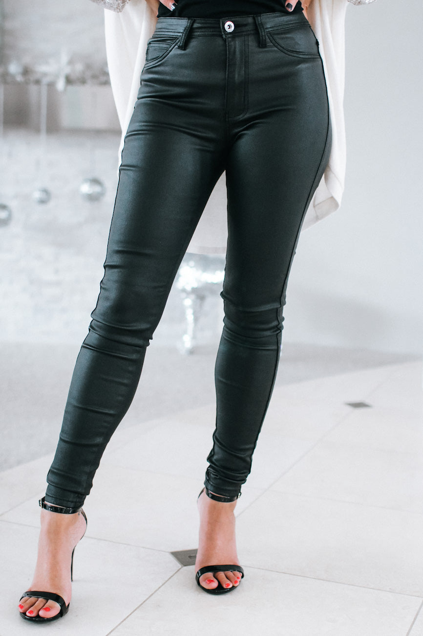 Faux Leather High Rise Stretch Pant