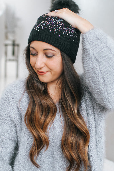 Rhinestone Outline Star Beanie