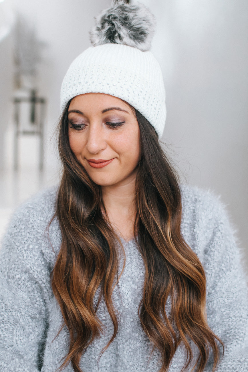 Stone Row Fold Pom Top Beanie