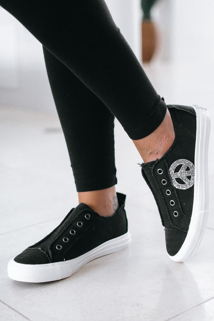 Canvas Laceless Peace Sign Sneaker