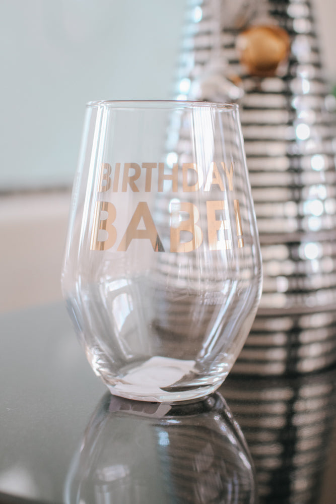 Birthday Babe Wine Glass-Glitz & Ears Boutique