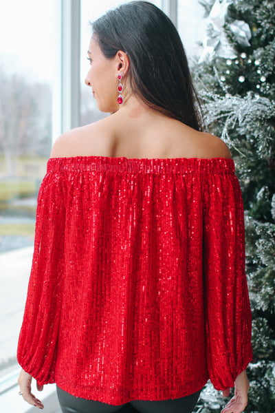 Sequin Off the Shoulder Balloon Sleeve Blouse