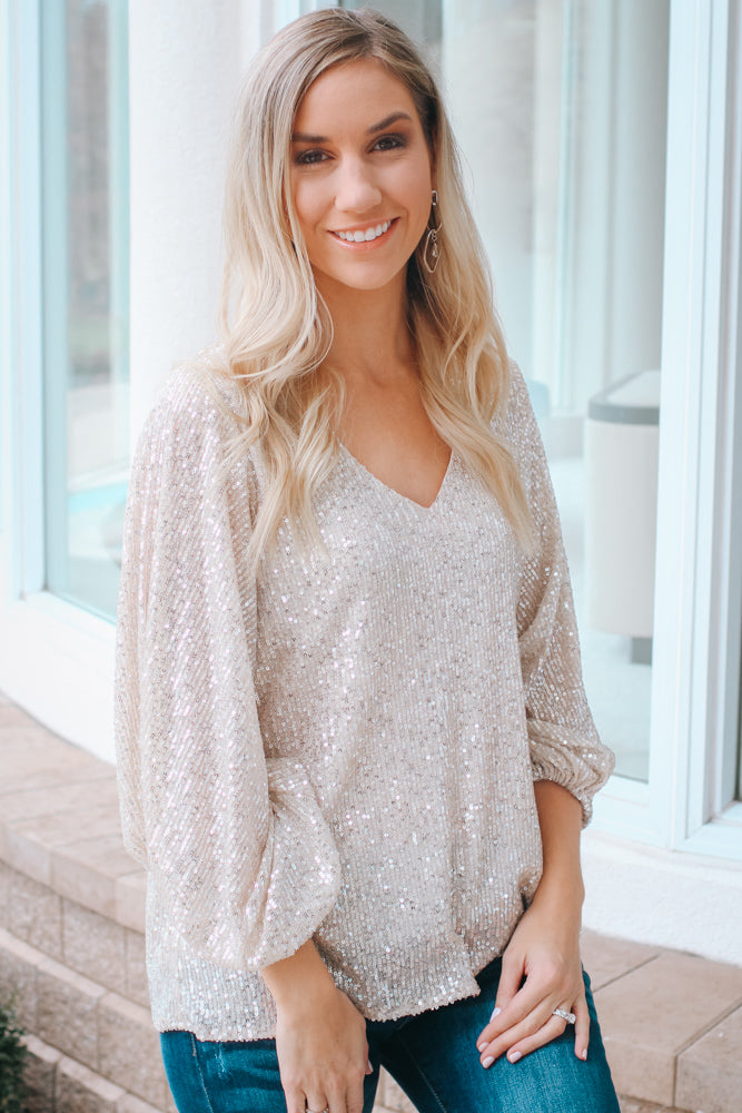 Balloon Sleeve Sequin V-Neck Top