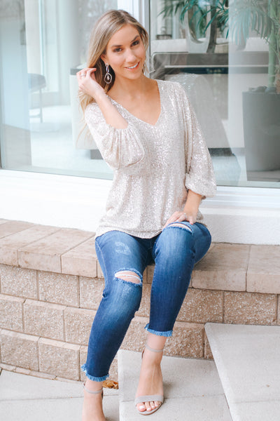 Balloon Sleeve Sequin V-Neck Top-Glitz & Ears Boutique