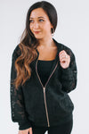 Lace Bomber Jacket with Zip Front