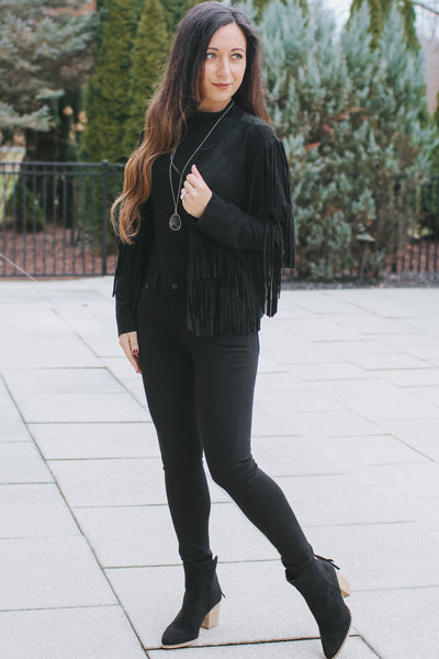 Short Layered Fringe Arm Suede Jacket