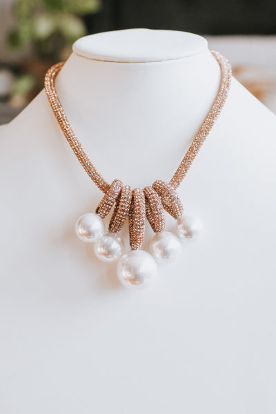 Pearl with Teardrop Loops Stone Strip Chain Necklace