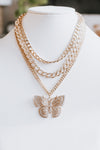 Layer Stone Chain Butterfly Pendant Necklace