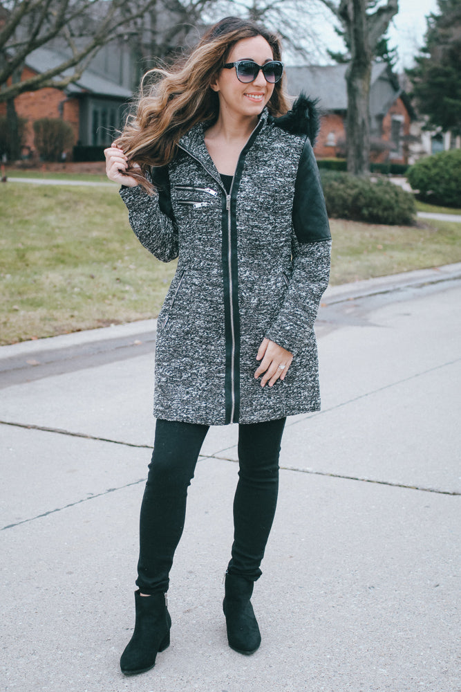 Tweed Coat with Faux Fur Hood