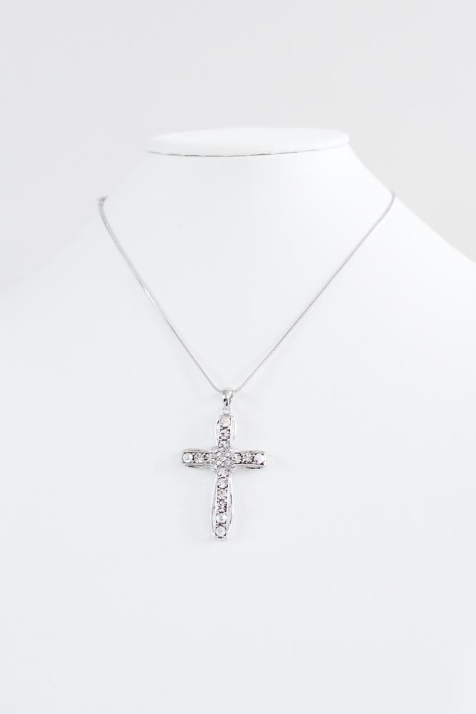 X Middle Rhinestone Cross